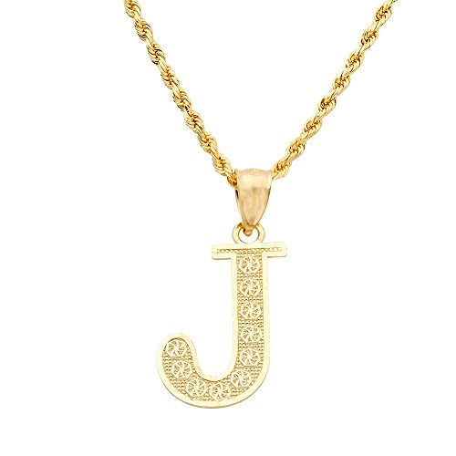 LOVEBLING 10K Yellow Gold Diamond Cut A to Z Alphabet Initial Letter Charm Necklace Pendant (Small) (J) ()
