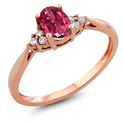 Rose Gold Tourmaline Ring (14K Rose Gold Pink Tourmaline and Diamond Women's Ring 0.56 cttw, Available in size (5,6,7,8,9))