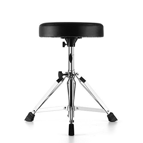 Review Flexzion Drum Throne – Drum Stool Padded Seat Height Adjustable Round Top Drum Chair With Sturdy Tripod Base, Anti-Slip Rubber Feet Foldable For Drummer, Percussion, Keyboard, Piano Players