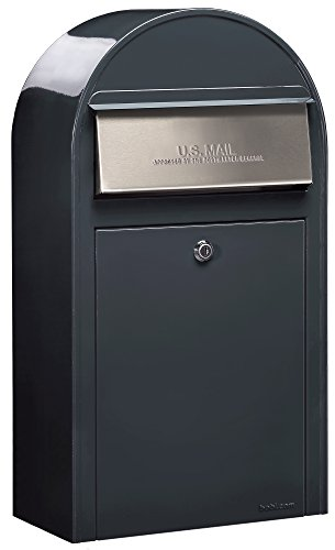 (Bobi USPS Wall Mount Lockable Mailbox with Cylinder Lock, European Modern Outdoor Security Mailbox, 2 Keys Included | Heavy Duty Stainless Steel Letter Drop Box (Grande S-Grey))