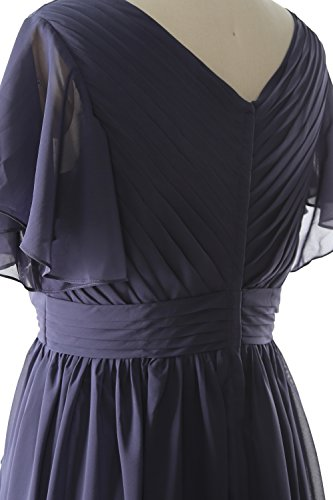 MACloth Women Short Sleeves Mother of the Bride Dress V Neck Formal Evening Gown Plum
