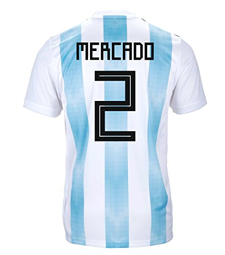 adidas Mercado #2 Argentina Official Youth Home Soccer Jersey World Cup Russia 2018 (YS)