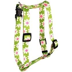 Yellow Dog Design Roman Harness, Small/Medium, Green Daisy