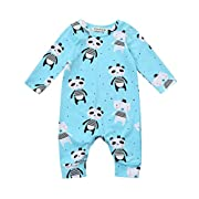 Fineser Infant Baby Boys Girls Cartoon Panda Print Romper Jumpsuit Long Sleeve Onesies Bodysuit (Blue, 3M)