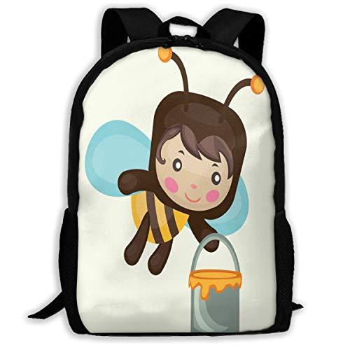 Backpack Honey Bee With Honey Bucket Zipper School Bookbag Daypack Travel Rucksack Gym Bag For Man Women (Female Bucket Honey)