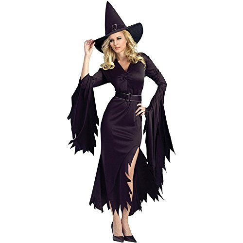 Secy Halloween Costumes (BYY Womens All Black Gothic Witch Halloween Costume Size S)