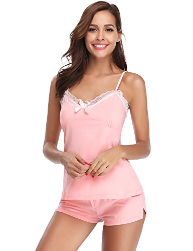 Hawiton Womens Sexy Sleepwear Lace Lingerie Cotton Nightgowns Pajama Cami Set Pink ()