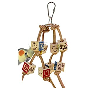 Bonka Bird Toys 1879 Small ABC Block Bird Toy Parrot cage Toys Cages Cockatiel Budgie Lovebird. Quality Product Hand Made in The USA. 41
