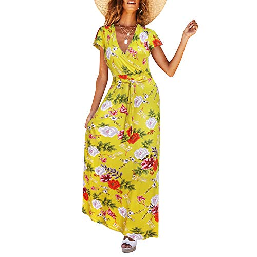 (HOOYON Women's Short Sleeve Floral Printed Wrap V-Neck Party Bohemian Beach Maxi Dress Yellow S)