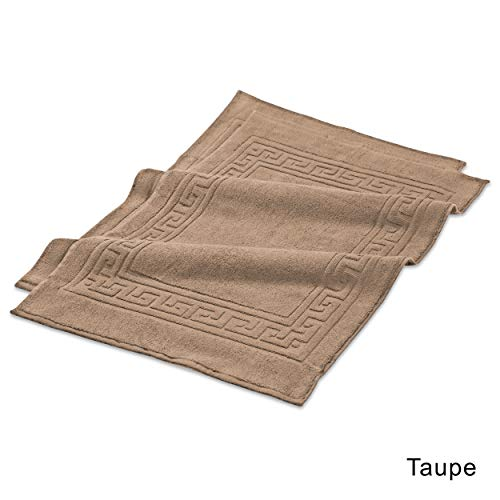 Luxurious Bath Cotton Egyptian - 2 Piece Taupe Luxurious Egyptian Cotton Bath Mat (Set of 2), Rug, Non-Skid, Machine Washable, Geometric Border Pattern, Contemporary and Elegance Style, 100-Percent Egyptian Cotton, Espresso, Tan