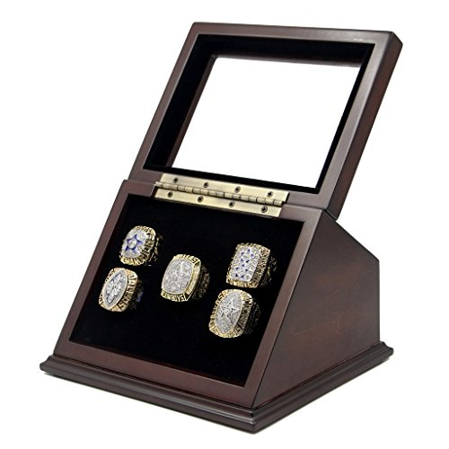 5 Slots Championship Rings Wooden Display case Shadow Box with Slanted Glass Window for Football Rings Basketball Hockey Sports Championship Rings - Rings are Not Included