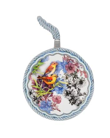 Flower Nylon Decor - Home-X Decorative Ceramic Coaster with Satiny Hanging Chord | Birds and Garden Flower Design Wall Decor and Furniture Protector