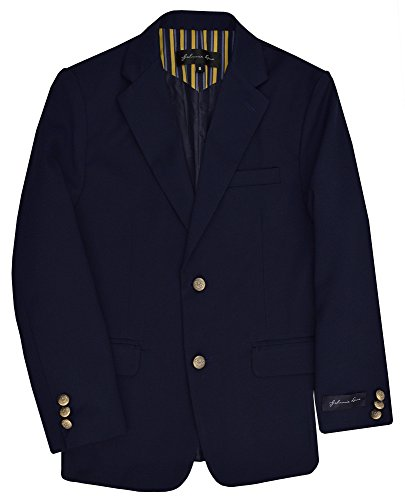 Johnnie Lene Dress Up Boys' Navy Blazer Jacket #JL30 (12, Lt. Navy)