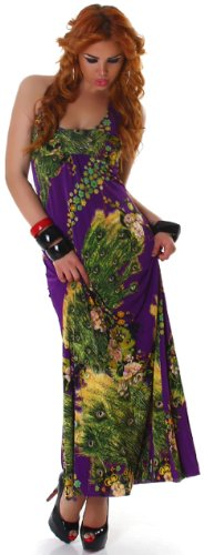 GRAFFITH de la mujer cuello halter floral sleevelessdress morado