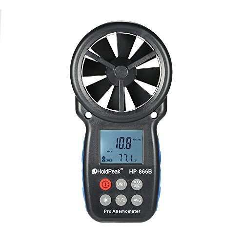 Wind Speed Tester, KKmoon 866B Digital Anemometer Handheld Wind Speed Meter for Measuring Wind Speed, Temperature and Wind Chill with Backlight and Max/Min