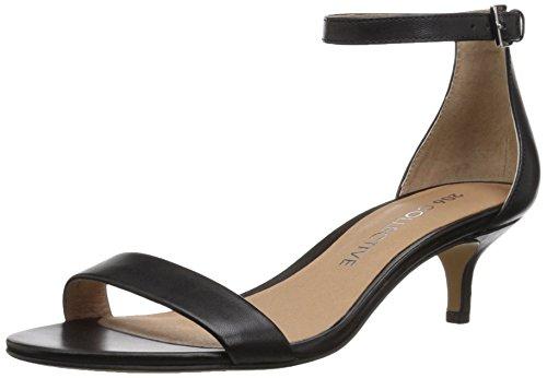 206 Collective Women's Eve Stiletto Heel Dress Sandal-Low Heeled, Black Leather, 9 B US -