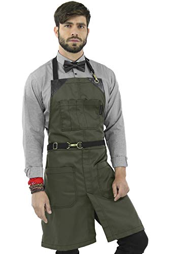 Under NY Sky No-Tie Moss Green Apron - Durable Twill with Leather Reinforcement and Split-Leg - Adjustable for Men, Women - Pro Barber, Tattoo, Barista, Bartender, Baker, Hair Stylist, Server Apron