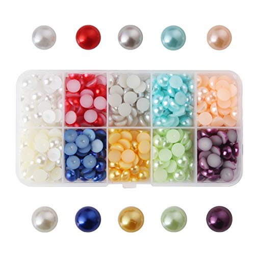 Meicry Beads 900pcs 8mm Mixed 10 Colors Half Pearl Bead Flat Back Gem Plastic Box ()