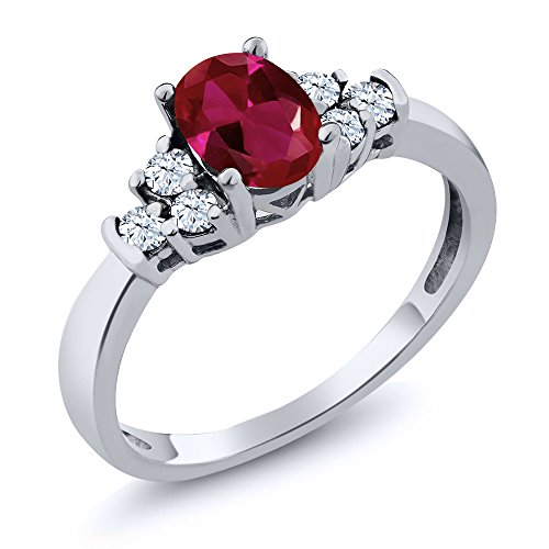 925 Sterling Silver Red Created Ruby and White Topaz Women's Ring 0.92 Ctw Oval (Size ()