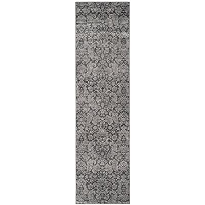 "Safavieh Vintage Collection VTG437H Transitional Floral Damask Dark Grey and Light Grey Distressed Runner (2'2"" x 8') - Stunning viscose fibers make this rug soft and luxurious to the touch The power loomed construction adds durability to this rug, ensuring it will be a favorite for many years This traditional, vintage rug will give your room an elegant accent - runner-rugs, entryway-furniture-decor, entryway-laundry-room - 41MUj7bYUmL. SS400  -"