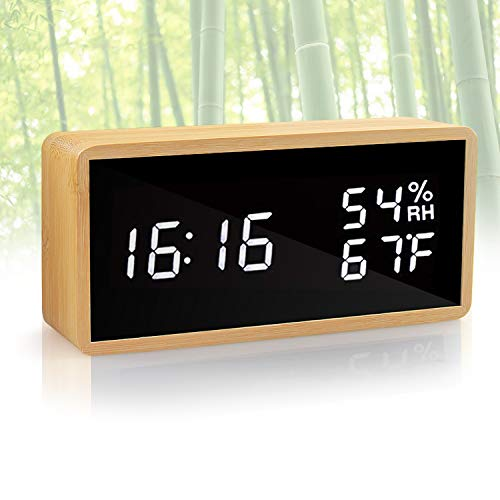 (KABB Alarm Clock, Digital Clock, Natural Bamboo Material LED Desk Clock with Triple Alarms, Adjustable Brightness, Calendar Temperature Humidity Display and Voice Control Mirror Clock for Office Home)