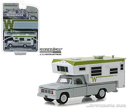 New DIECAST Toys CAR Greenlight 1:64 Hobby Exclusive 1966 Dodge D-100 with Winnebago Slide-in Camper 30022