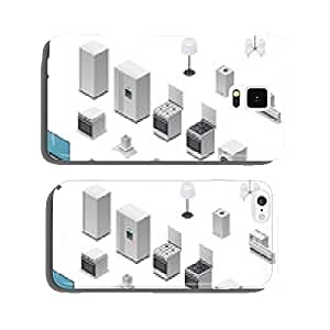 Vector isometric appliances set cell phone cover case Samsung S6