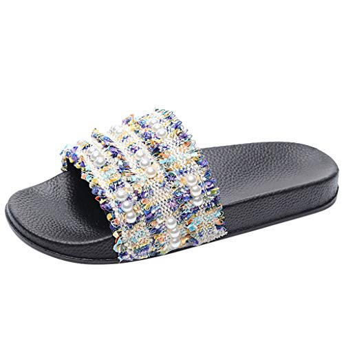(BODOAO Casual Slippers Womens Slippers Non-Slip Breathable Beach Flats Open Toe Shoes)