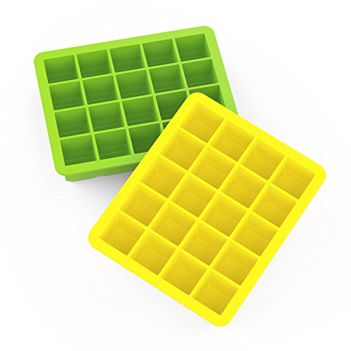 Ice Cube Trays, Blomo Silicone Small Ice Cube Trays with 2 Pack - 20 Cubes 1 inch Ice Cube Molds BPA Free for Juice Whiskey Cocktail and any Drink - Yellow and Green (1 Ice Cube)
