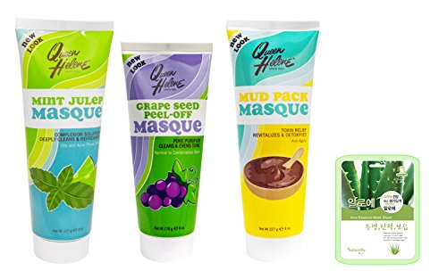 Queen Helene Mint Julep, Mud and Grape Masque - 3pc Variety Set w Aloe Mask (Variety Set I)