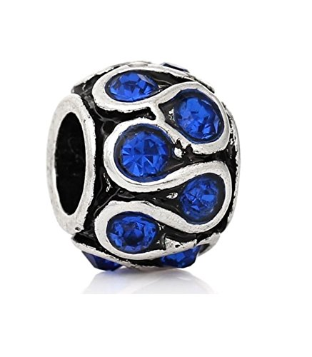 J&M Saphire Blue Crystal Swirl Spacer Charm Bead for ()