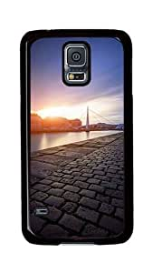 Samsung Galaxy S5 Case, S5 Cases - Sidewalk Bridge Sunset Ios7 Ultimate Protection Scratch Proof Soft TPU Rubber Bumper Case for Samsung Galaxy S5 I9600 Black