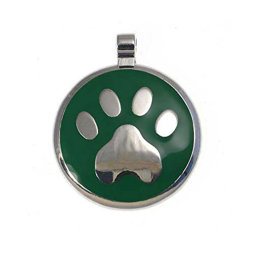 LuckyPet Pet ID Tag: Paw Print Jewelry Tag - Custom Engraved Cat Tags and Dog Tags -Size: large, Color green