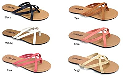 Girls Club Fashion Women's Flip Flops Criss Cross Strappy Summer Sandal Flat Thong Straps