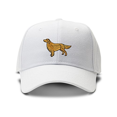 Golden Retriever Embroidery Adjustable Structured Baseball Hat White
