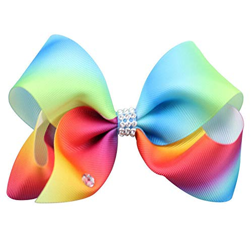 Girl Rainbow Bows Hairpin large rib Grosgrain Ribbon Bow Hair Clip Baby (Color - - Curling Grosgrain Ribbon