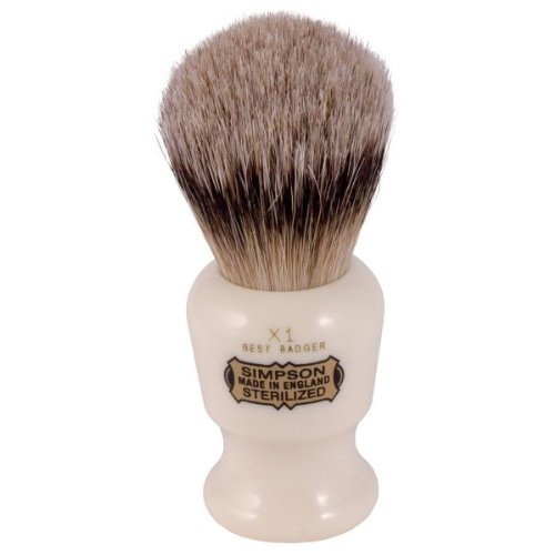 Price comparison product image Simpsons Commodore X1 Best Badger Hair Shaving Brush Small - Imitation Ivory