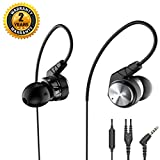 Exercise Earphones,Jogging Earbuds with Wired Microphone Over Ear Earhook Sweatproof Sports In-Ear Headphones for Workout Gym Exercise Running Noise Isolating Monitor for iPhone iPad iPod -Grey