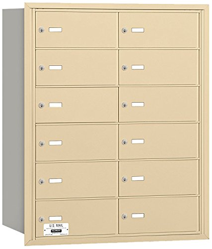 Salsbury Industries 3612SRU 4B Plus Horizontal Mailbox, 12 B Doors, Rear Loading, USPS Access, Sandstone
