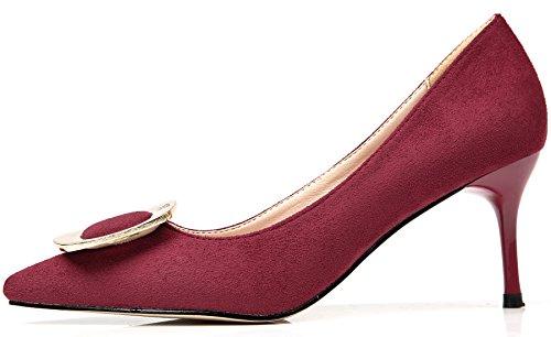 BIGTREE Suede Women High Heels by Elegant Pointed Toe Metal Buckle Dress Pumps Court Shoes Red cWpJHNP