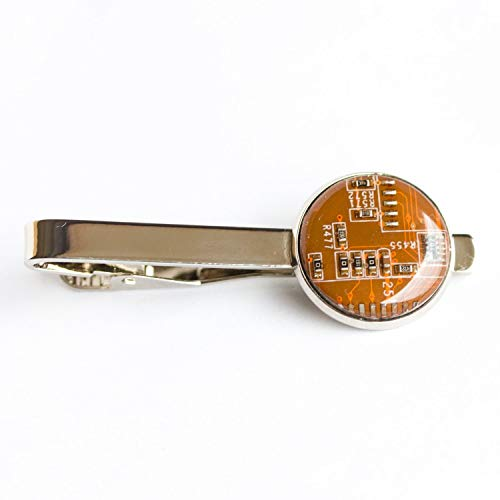 Orange Circuit Board Tie Clip, nerdy gift for him