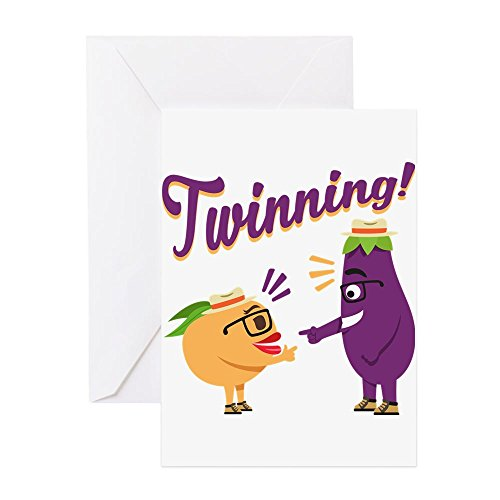 CafePress - Emoji Eggplant And Peach Twinning - Greeting Card, Note Card, Birthday Card, Blank Inside Matte