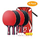 Tencoz Table Tennis Bat, Table Tennis Racket Ping Pong Set Training Table Tennis Racket Set 4 Table Tennis Racket and 6 Balls + 1 portable bag for Indoor and Outdoor …