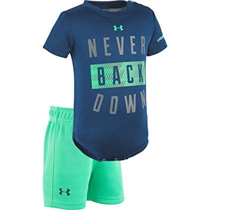 Under Armour 2-Piece Peanut Baseball Bodysuit and Short Set (0-3 Months, Never Back Down (27C92033-43)/Blackout Navy)