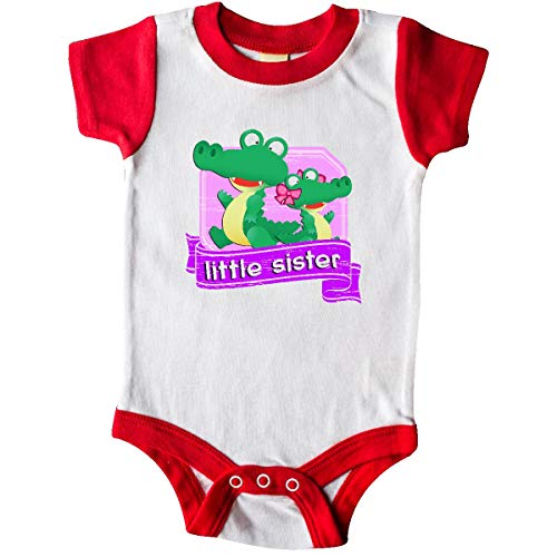 inktastic - Little Sister Alligator Infant Creeper 24 Months White and Red 220fc