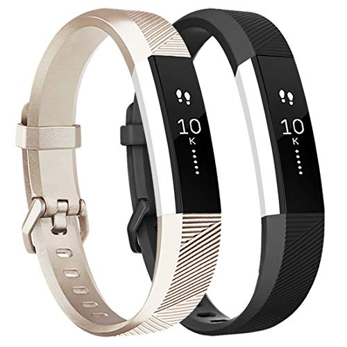 Tobfit 2 Pack Sport Bands Compatible with Fitbit Alta Bands/Alta HR/Ace, Soft TPU Replacement Wristbands for Women Men