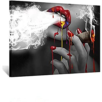 Kreative Arts Fashion Canvas Prints Woman Smoking Wall Art Sexy Red Lips with Burning Money Dollars Black and White Paintings Abstract Poster for Bar Art Toilet Bathroom Walls Decor Ready to Hang