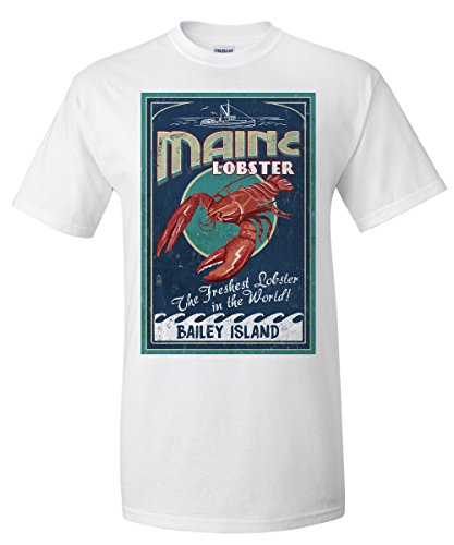 Bailey Island, Maine - Lobster Vintage Sign (White T-Shirt (Bailey Mens Clothing)