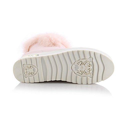 Top On Kitten AmoonyFashion Womens Round Pull Boots Heels Low PU Toe Pink Closed rfTvYq0Swf