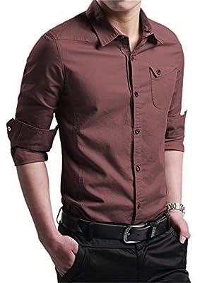 LIZHIGU Men's Cotton Long Sleeve Button Down Dress Shirt Causal Slim Fit Shirts